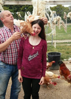 con gallinas